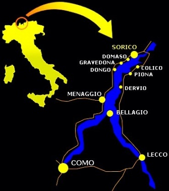 JC-Kitesurfing School location - map. Lake Como, Italy. Just over the Swiss border